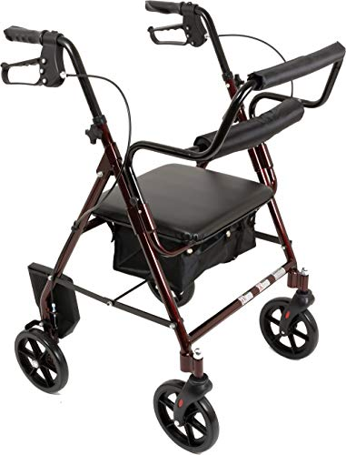 Transport Rollator with Padded Seat, Fold Up Seat, 8 Inch Wheels, Weight Capacity: 250 Pounds (Burgundy) (Drive Medical Duet Transport Wheelchair Rollator Walker Burgundy)