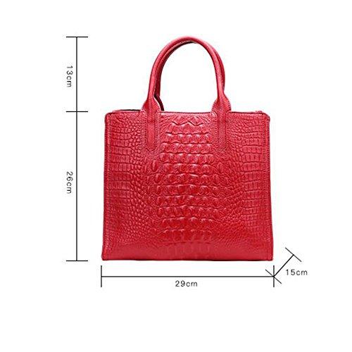 Sac en à femme main à Sac pour à bandoulière capacité crocodile bandoulière de Vin main de simple qualité Sac rouge JUNBOSI grande en Sac cuir à AUqTt5n