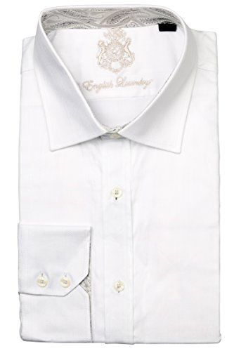 English Laundry Men's 100% Cotton Classic Fit Long Sleeve White Dress Shirt, (English Laundry Striped Shirt)