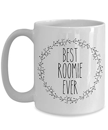 Best Roomie Ever Mug - Minimalist Coffee Cup - College Roommate Gifts (11oz, white)