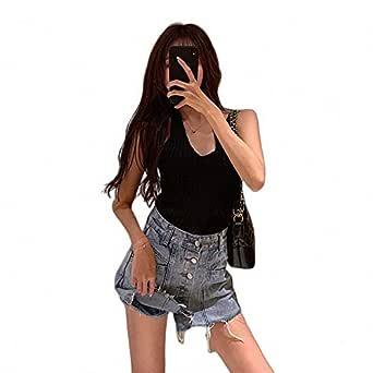 DER Sólido Rasgado Jeans Falda Falda Falda Falda Cintura Alta ...