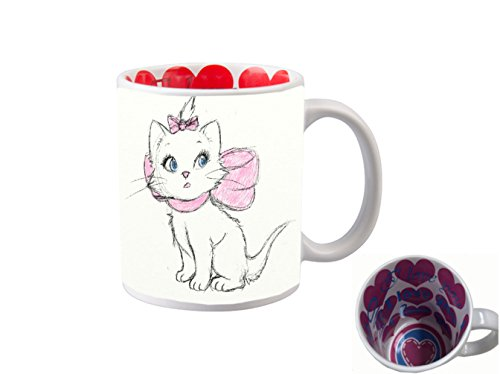 I LOVE YOU INSIDE PRINT 11 ounce Ceramic Coffee Mug Tea Cup/Aristocat Drawn Cute Disney Sketch Printed Design