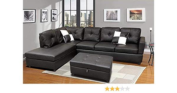 Verxii Home Sectional Sofa Set Urbania Left Hand Facing 105 X 76 X 33 Black Kitchen Dining