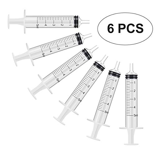 6 Pack - 5ml Plastic Syringe with Measurement, No Needle Suitable for Refilling and Measuring Liquids, Feeding Pets, Oil or Glue Applicator
