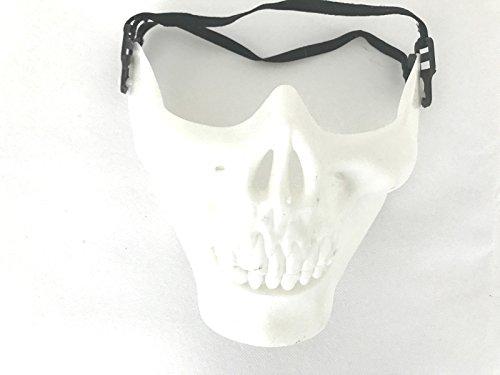 [Airsoft Motorcycle Costume Skull Skeleton Party Mask Halloween (White)] (Half Skull Mask Costume)
