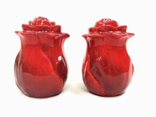 2-Pieces Salt & Pepper Shaker Set, Ruffle Red Flower,