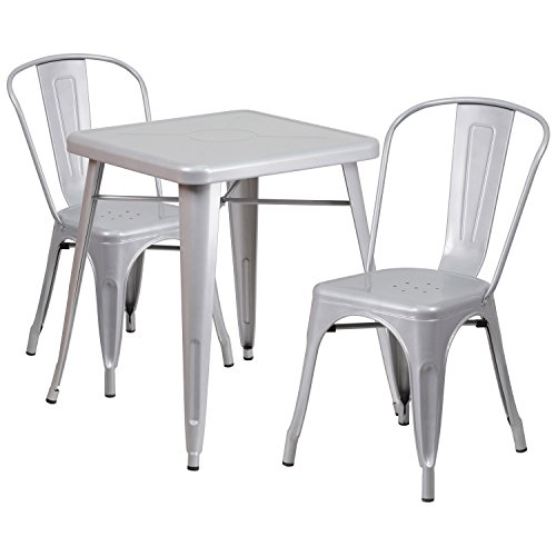 """Cheap Flash Furniture 23.75"""" Square Silver Metal Indoor-Outdoor Table Set with 2 Stack Chairs"""