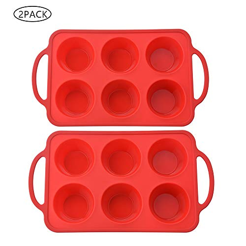 Yoku Made 2 Pack Silicone Muffin Pan with Metal Frame, for Large Muffin, Top Standard Size (Half of Texas Jumbo), 6 Cavities Each, 12 Cavities Totally, Red