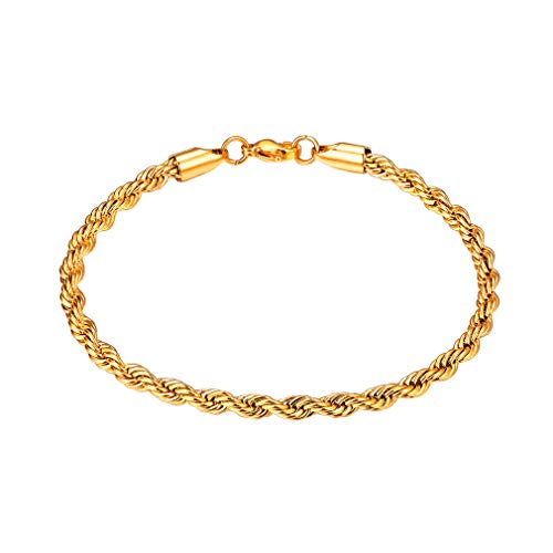 FaithHeart 3MM Twisted Rope Chain Bracelet, 18K Gold Plated DIY Hip Hop Bracelet for Men/Women, Gift for Mother/Father Customize Available (Send Gift Box)