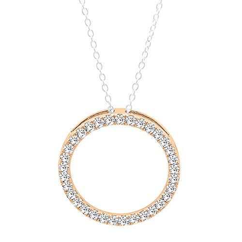 Dazzlingrock Collection 0.50 Carat (ctw) 10K Round White Diamond Circle Pendant 1/2 CT (Silver Chain Included), Rose Gold 1/2 Ct Diamond Circle Pendant