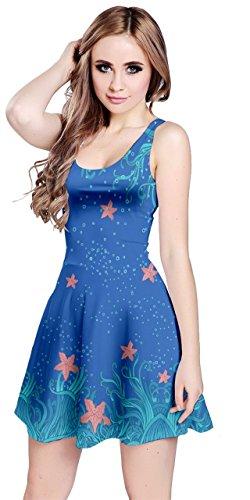 rs Blue Sea Animal Pattern Sleeveless Dress, Blue - M ()