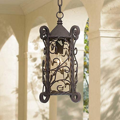 Casa Seville Traditional Outdoor Light Hanging Dark Walnut Iron Scroll 15 Champagne Water Glass Damp Rated for Exterior Porch – John Timberland