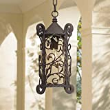 Casa Seville Traditional Outdoor Light Hanging Dark Walnut Iron Scroll 15'' Champagne Water Glass Damp Rated for Exterior Porch - John Timberland