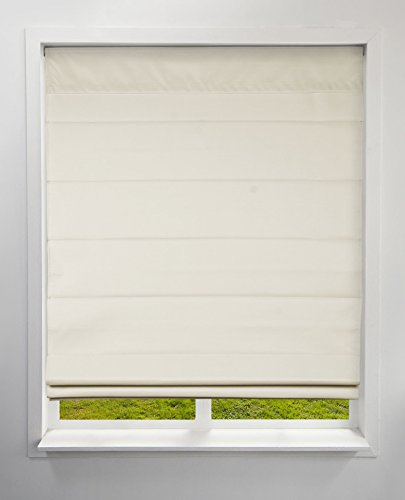 (Arlo Blinds Thermal Room Darkening Fabric Roman Shades, Color: Ivory, Size: 34
