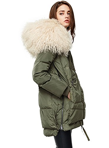 ANNA&CHRIS Womens Down Jacket with Fur Trim Hood Warm Parka Thicken Coat,Army Green,Large
