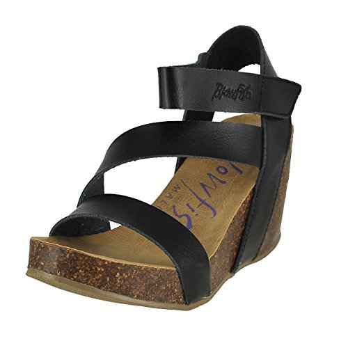 Blowfish hapuku Black Dyecut PU Womens Wedge Sandals Size 8M (8 Womens Size Sandals Black Wedge)
