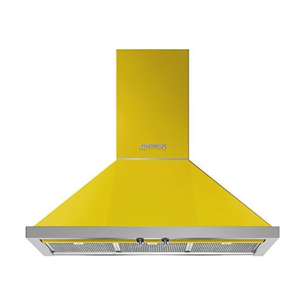 "Smeg Portofino KPF36UYW 36"" Chimney Hood, Yellow 1"