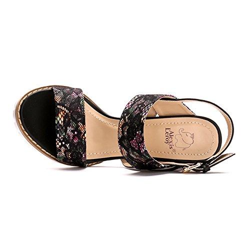 Flower Printed Heel Strappy Sandals Chunky Black Dainty Leroy Alexis Buckled xq4HRw