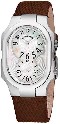 Philip Stein Signature Womens-Large Stainless Steel Dual Time Zone Watch - Mother of Pearl Face Natural Frequency Technology Unisex Watch - Brown Leather Band Analog Quartz Watches for Women or Men