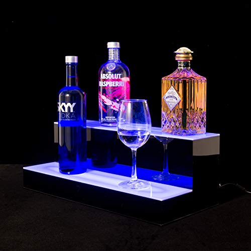 SUNCOO LED Lighted Liquor Bottle Display 20 inches 2 Step Illuminated Bottle Shelf 2 Tier Home Bar Bottle Shelf Drinks Lighting Shelves High Gloss Black Finish with Remote Control ()
