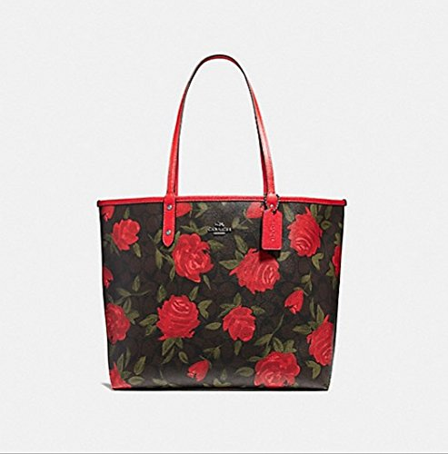 COACH REVERSIBLE CITY TOTE WITH CAMO ROSE FLORAL PRINT STYLE, F25874,