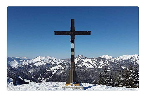 Tree26 Indoor Floor Rug/Mat (23.6 x 15.7 Inch) - Rangiswanger Horn AllgAu Winter Summit Summit Cross