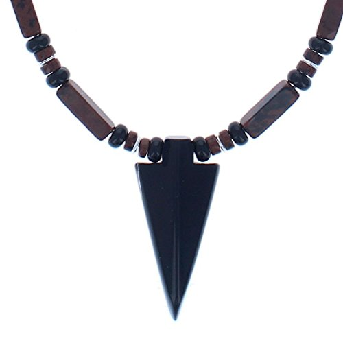 Timeless-Treasures Black Onyx, Mahogany Obsidian & Sterling Silver Men's Beaded Necklace with Black Agate Arrowhead (Handmade in USA) - 16