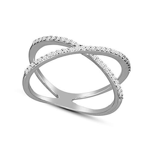(100% Real Diamond Criss Cross Diamond Ring 1/5cttw Lab Grown Diamond Engagement Rings For Women Lab Created Diamond Rings VSSI-EF 14K Real Diamond Band Rings Size-8)