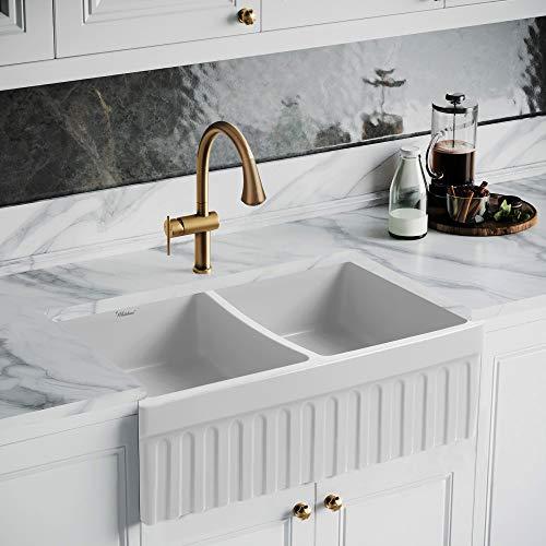 Whitehaus Collection WHQDB332-M-WHITE Quatro Alcove Kitchen, Fireclay, Front Apron Sink, Matte White