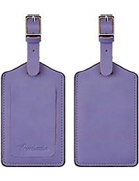 Leather Luggage Bag Tags (Purple 5343 Classic Purple)