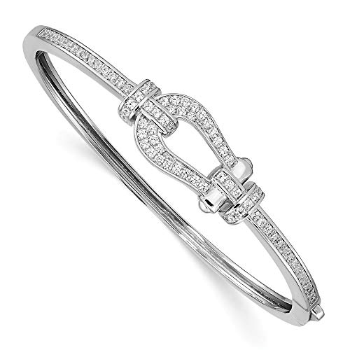 - 925 Sterling Silver Cubic Zirconia Cz Buckle Hinged Bangle Bracelet Cuff Expandable Stackable Fine Jewelry Gifts For Women For Her