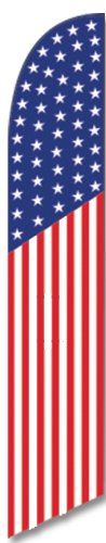 American US Banner Flag (50 Stars) Feather Banner Flag | Includes Flag Pole and Ground Stake