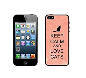 Keep Calm And Love Cats - Coral Floral - Protective Designer BLACK Case - Fits Apple iPhone 5 / 5S