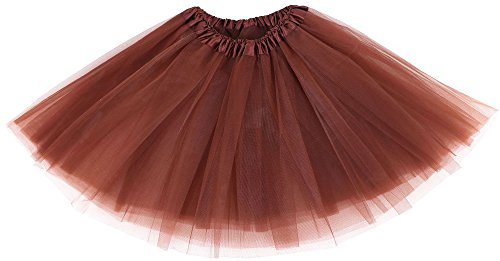 Simplicity Womens Classic Elastic, 3 Layered Tulle Tutu Skirt, Coffee One size fits all ()