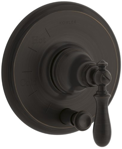 (KOHLER K-T72768-9M-2BZ Artifacts Rite-Temp Pressure-Balancing Valve Trim with Push-Button Diverter and Swing Lever Handle, Oil-Rubbed Bronze)
