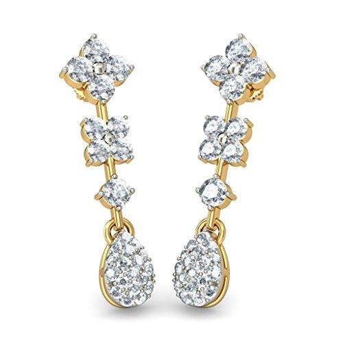 Or jaune 18K 1,2CT TW White-diamond (IJ | SI) Pendants d'oreilles