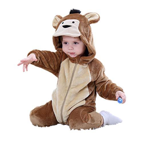 dkDaKanl Unisex-Baby Flannel Romper Animal Onesie Pajamas Jumsuit Outfits Kids (80, Brown -