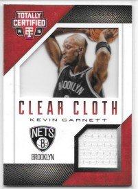 Jersey Red Insert - Kevin Garnett 2014-15 Totally Certified Clear Cloth Jerseys Red #222/299 Brooklyn Nets Jersey Insert Card #28