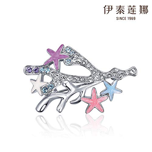 italina Crystal Brooch pin Corsage Elements Fashion Accessories Women Girls Star Coral ()