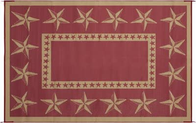 Kotulas Outdoor Reversible Patio RV Mat, 6ft. x 9ft. Star, Red Khaki