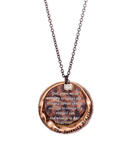 Jewelry Nexus The Serenity Prayer Stamped Round Hammered Disc Pendant Necklace, Bronze-Tone