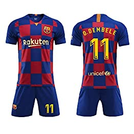 Costume de Football Messi # 10, Suárez # 9, Umtiti # 23, Sergio # 5, Coutinho # 7, Arthur # 8, Vidal # 22, O. Dembele # 11, Pique # 3, Barcelone, barça, Ensemble Costume de Football pour T-Shirt Hom