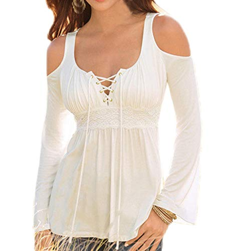 Epaule Manches Printemps Blanc Tops Mode et Tee Nu Casual T Shirt Hauts Blouse Simple Chemisiers Longues Sexy Automne Femmes Jumpers Couleur Fashion Unie BUKqyw5Z