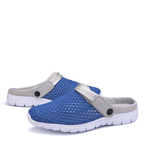 SAGUARO® Unisex del verano de malla transpirable zapatos de ocio punta cerrada deslizadores de las sandalias de playa Azul