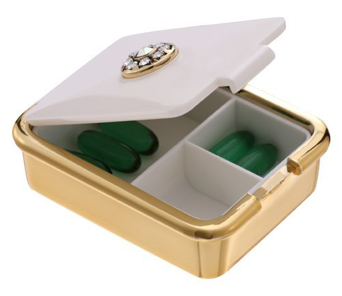 PuTwo Pill Organizer with Swarovski Crystals,Decorative Pill Case for Purse,Fashionable pill box with 3 Compartments-White