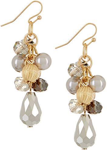 Bay Studio Grey Beads & Faux Pearl Cluster Earrings Grey/gold tone