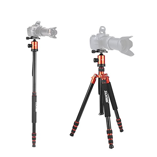 Zomei Z818 Professional Heavy Duty Compact Photo Camera Tripod 65 Inch 4 Section Stable Aluminum Tripod Legs Monopod 360 Degree Fluid Rotation Ballhead for Digital Cameras Nikon Canon Video(Orange)