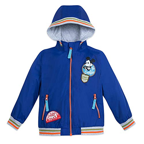 Disney Mickey Mouse Hooded Windbreaker Jacket for Boys Size 4 Blue