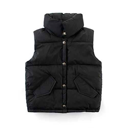 Neck Puffer - Mallimoda Boys Girls Lightweight Down Vest Puffer Jacket High Neck Waistcoat Black 3-4 Years