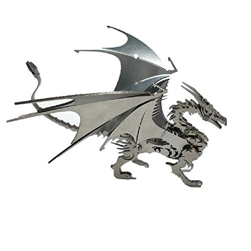 ILYO Childrens Building Blocks 3D Three-Dimensional Puzzle Metal Stainless Steel Western Flying Dragon DIY Puzzle Model Creative Ornaments
